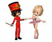 pic of nutcracker  - Cute toon style Sugarplum fairy ballerina and Nutcracker Prince from the Christmas ballet - JPG
