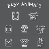 Постер, плакат: Wild Baby Animals Icons Set