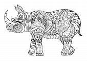 Постер, плакат: Rhino Coloring Page