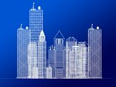 Architecture Blueprint Of Corporate Buildings poster