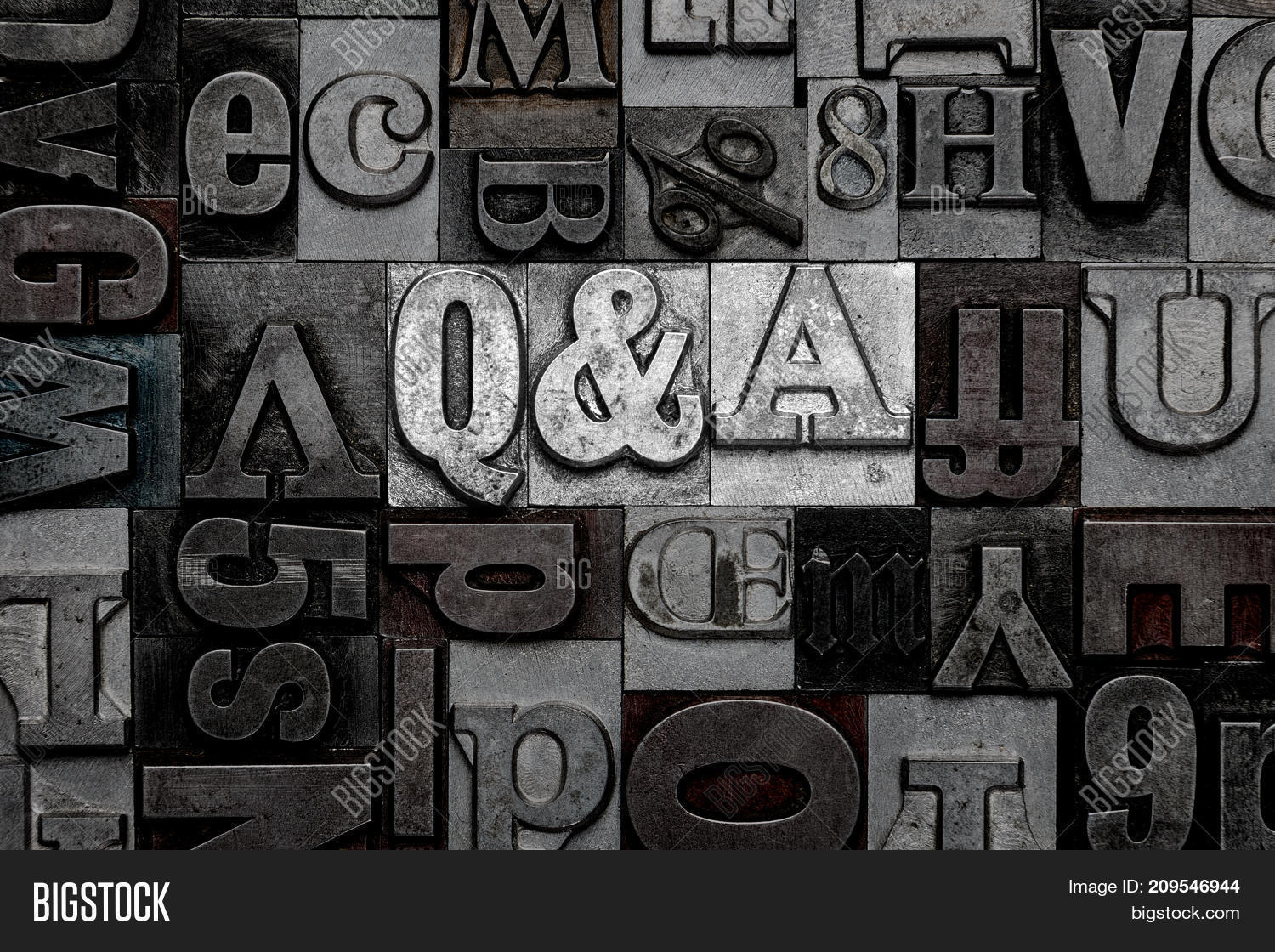 Old Metal Letters Delectable Term Q& Made Old Metal Letterpress Image & Photo  Bigstock Review