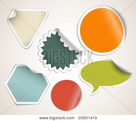 Set of labels badges and stickers with retro colors