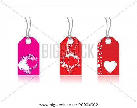 La etiqueta con el corazón, el precio del amor, mensaje de amor, Vector Illustration