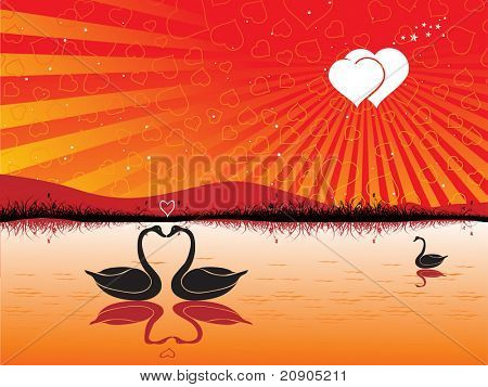 Two swans forming a heart under the sunset vector illustration