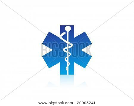 medical caduceus charm sign vector illustration