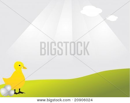 easter chick with eggs on grass vector illustration abstract background