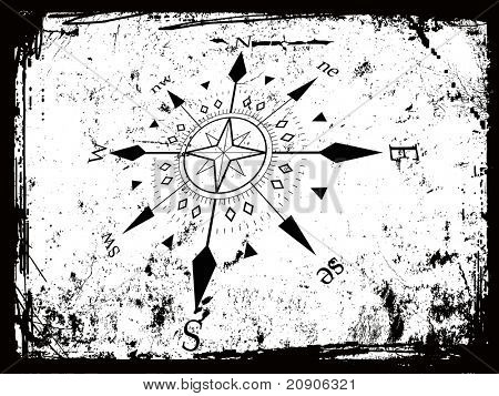 vector illustration of compass grunge background