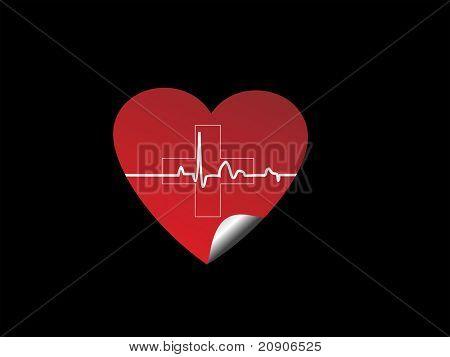 heart pulse sticker vector illustration