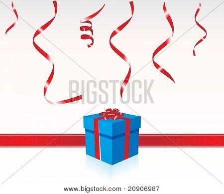 Blauer Geschenkbox verknotet mit Red Ribbon, Tapete