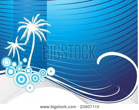 stilisierte Wallpaper der Palme, Kreise und Wave-Elemente