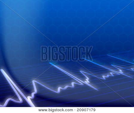 electronic cardiogram on blue background, vector illustration