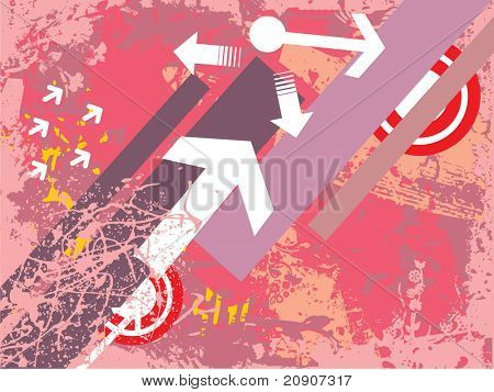 arrows and target on grunge background, vector wallpaper