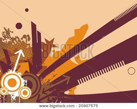 beautiful corner of arrow, star and grunge, illustration