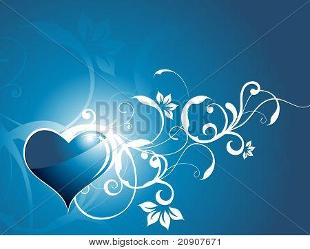 corazón brillante con elementos florales, Ilustración
