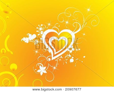 valentines heart-shape with shining stars illustration