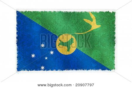Flag of Christmas Island on old wall background, vector wallpaper, texture, banner, illustration