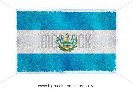 Bandera del Salvador en la vieja pared de fondo, vector wallpaper, textura, banner, Ilustración