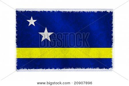 Flag of Curacao on old wall background, vector wallpaper, texture, banner, illustration