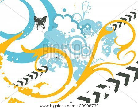 swirl, butterfly and arrow with grunge effects, illustration