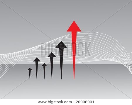 business graph of arrow, gray wallpaper