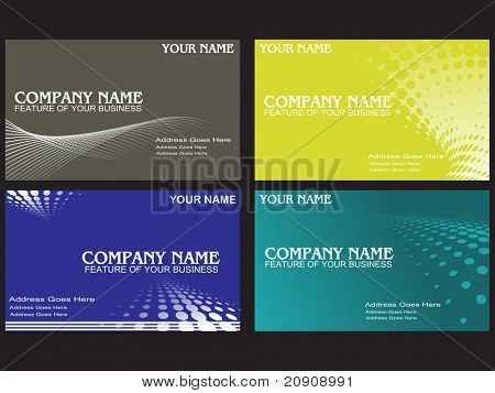 visiting cards set with wave halftone element, illustration