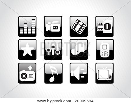 abstract beautiful web glassy icons set, black