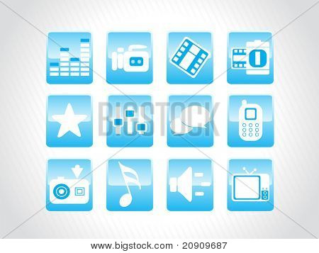 abstract beautiful web glassy icons set, blue