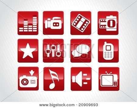gläserne abstrakt schöne Web-Icons set, rot