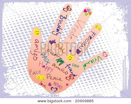 abstract grunge background with hand, friendship sign vector illustration