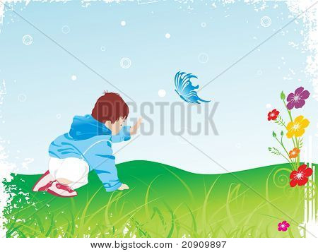 beautiful kid playing in the garden, vector illustration