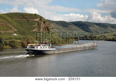 Barge On Rhine River In The  Wine Region Of Germany