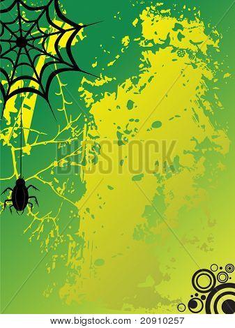 ilustração vetorial, aranha com fundo sujo em verde