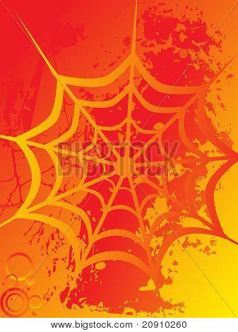 ilustração vetorial, aranha líquida em fundo laranja