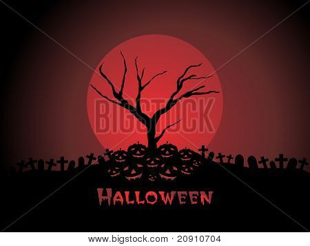 graveyard night scene with full moon, wallpaper
