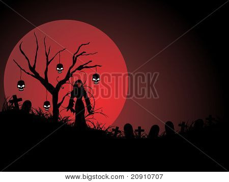 graveyard night scene in the moonlight, wallpaper