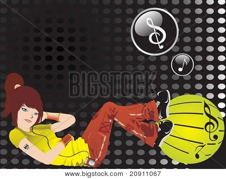 beautiful girl listening music on spotted black background, wallpaper