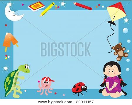 abstract frame with toys, illustration