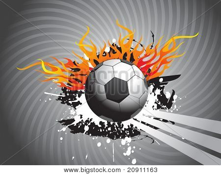 abstract grunge background with football and flame