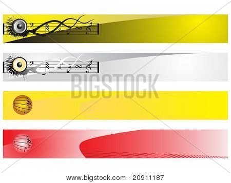 web 2.0 style musical series website banner set 3, illustration