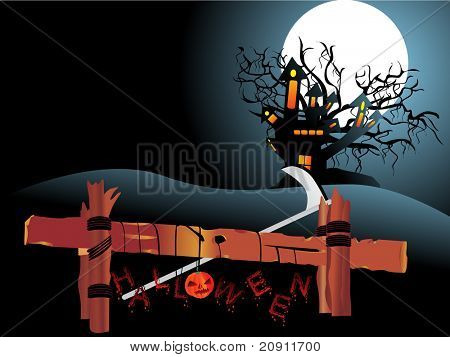 Night Scene with Full Moon Haunted house and hanging pumpkins of halloween background series view more in our profile