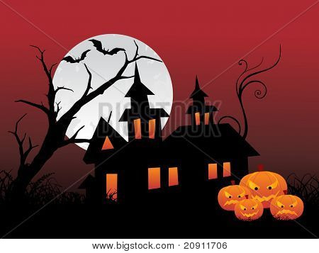 Night Scene with Full Moon haunted house and bats with tree  of halloween background series view more for halloween in our profile