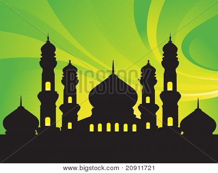 abstract background with silhouette of mosques, wallpaper