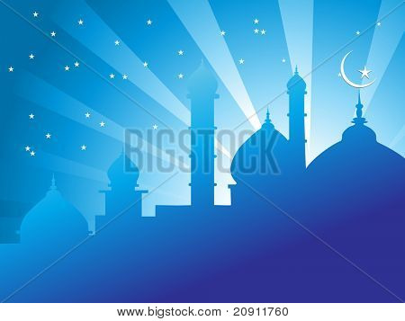 illustration of mosques in over bright night sky Islamic Series