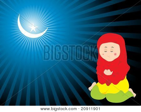 muslim woman praying during eid