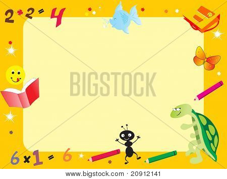 yellow abstract frame for kid, illustration