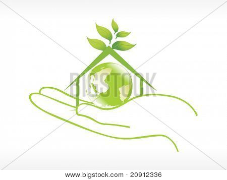 globe in the green house on hand vector illustration