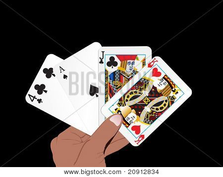 vector set of abstract playing card in the hand, illustration