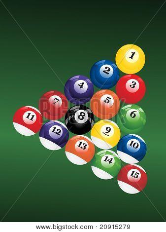 billiard balls triangle on a green background