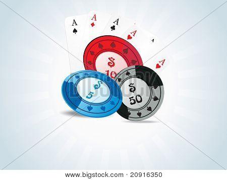 vetor de fichas de poker e jogar cartas