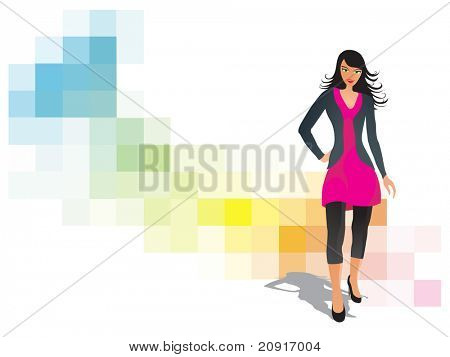 colorful silhouette of a modern girl on computerized background